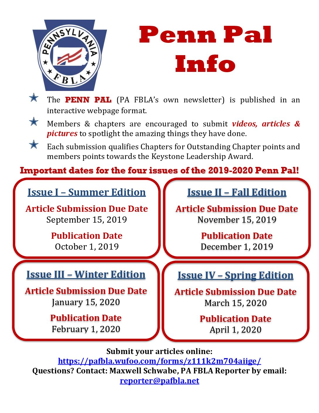 Penn Pal Due Dates