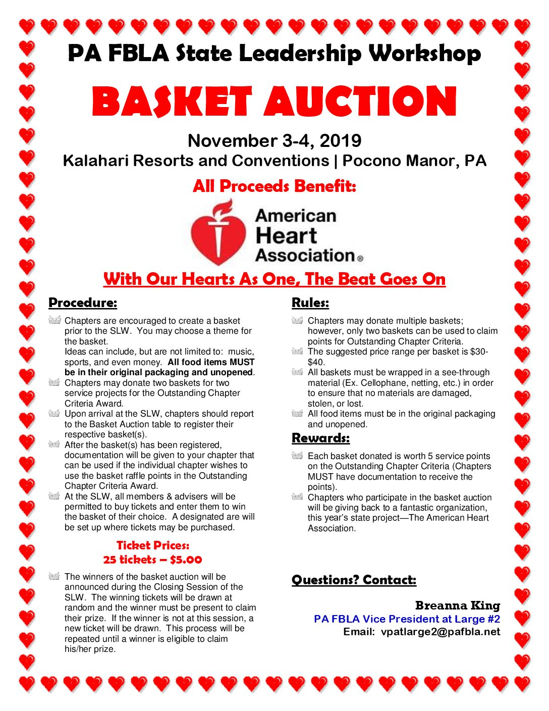 SLW Basket Auction to Benefit the American Heart Association