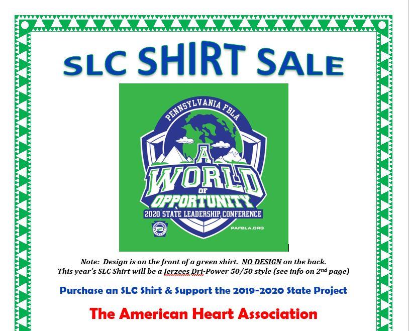 PA FBLA SLC Shirt Sales Information
